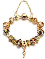 cheap -Women's Gold Bead Bracelet Beads Heart Fashion Copper Bracelet Jewelry Gold For Daily