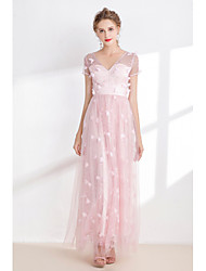cheap -A-Line V Neck Ankle Length Organza Bridesmaid Dress with Appliques