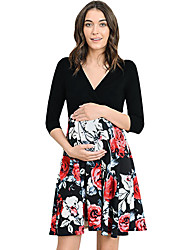 cheap -Women's Maternity Basic Above Knee Swing Dress Patchwork White Red L XL XXL