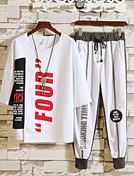 cheap -Men's 2-Piece Streetwear Tracksuit 2pcs Running Sportswear Breathable Clothing Suit Half Sleeve Activewear Micro-elastic Loose