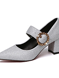 cheap -Women's Heels Chunky Heel Pointed Toe Sequin Faux Leather / Patent Leather Casual / Minimalism Spring &  Fall / Spring & Summer Black / Gold / Silver