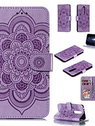 Недорогие -Кейс для Назначение Nokia Nokia 7.1 / Nokia 5.1 / Nokia 3.1 Кошелек / Бумажник для карт / со стендом Чехол Однотонный / Цветы Твердый Кожа PU