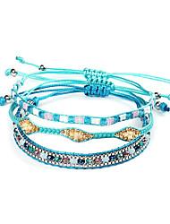 cheap -3pcs Women's Wrap Bracelet Vintage Bracelet Earrings / Bracelet Layered Weave Simple Classic Vintage Ethnic Fashion Cord Bracelet Jewelry Blue For Daily School Street Holiday Festival