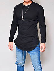 cheap -Men's Daily Wear Basic T-shirt - Solid Colored Round Neck Black / Long Sleeve