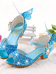 cheap -Girls' Flower Girl Shoes / Tiny Heels for Teens Synthetics Sandals Kids / Teenager Bowknot / Sequin / Buckle Silver / Blue / Pink Spring / Summer / Peep Toe / Party & Evening / Rubber