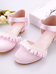 cheap -Girls' Flower Girl Shoes / Tiny Heels for Teens Satin Heels Ivory / Light Pink Spring / Summer / Party & Evening / Rubber