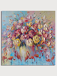 cheap -Oil Painting Hand Painted - Animals Floral / Botanical Modern Rolled Canvas