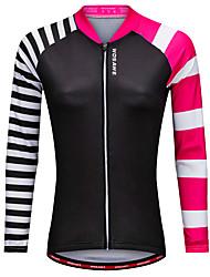 abordables -WOSAWE Femme Manches Longues Maillot Velo Cyclisme Noir Cyclisme Maillot Hauts / Top VTT Vélo tout terrain Vélo Route Des sports Polyester Vêtement Tenue / Elastique / Avancé / Avancé