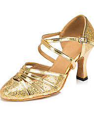 cheap -Women's Modern Shoes / Ballroom Shoes Synthetics Ankle Strap Heel Glitter / Paillette Flared Heel Customizable Dance Shoes Gold / Silver / Performance / Practice