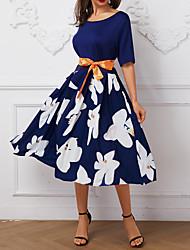 cheap -Women's Red Blue Dress A Line S M