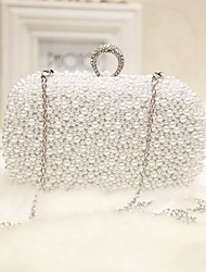 cheap -Women's Pearls Silk Evening Bag Solid Colored White / Pink