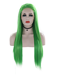 cheap -Synthetic Lace Front Wig Straight Free Part Lace Front Wig Long Green Synthetic Hair 18-24 inch Women's Adjustable Heat Resistant Party Green