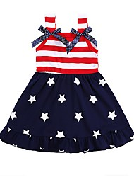 cheap -Kid's Girls' Cosplay American Flag Dress Cosplay Costume For Halloween Daily Wear Cotton Independence Day Dress