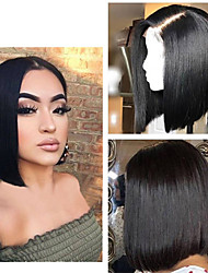 cheap -Human Hair Lace Front Wig Bob Short Bob style Brazilian Hair Straight Wig 130% Density Women Best Quality New New Arrival Hot Sale Women's Short Wig Accessories Human Hair Lace Wig Laflare