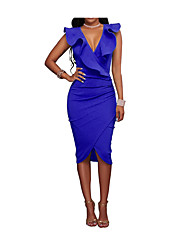 cheap -Women's Ruffle Plus Size Wine Yellow Dress Summer Going out Bodycon Solid Colored Petal Sleeves Deep V Blue Split S M Slim / Cotton / Sexy