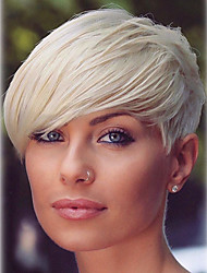 cheap -Human Hair Wig Short Straight Natural Straight Bob Pixie Cut Layered Haircut Asymmetrical Blonde Life Easy dressing Comfortable Capless Women's All Palest Blonde 8 inch / Natural Hairline