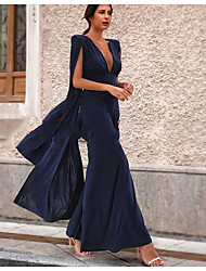 cheap -Jumpsuits Plunging Neck Ankle Length Polyester Sexy / Open Back Holiday / Cocktail Party / Formal Evening Dress with 2020