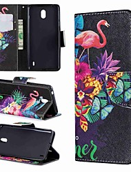 Недорогие -Кейс для Назначение Nokia Nokia 7.1 / Nokia 5 / Nokia 5.1 Кошелек / Бумажник для карт / Защита от удара Чехол Животное / Мультипликация Твердый Кожа PU