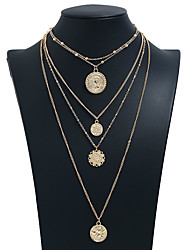 cheap -Women's Pendant Necklace Layered Necklace Layered Simple European Trendy Fashion Chrome Gold Silver 30 cm Necklace Jewelry 1pc For Daily Holiday Prom Street Work