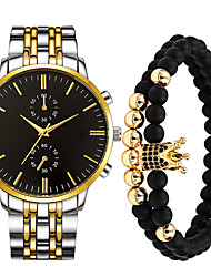 cheap -Men's Steel Band Watches Quartz Stainless Steel Silver / Gold 30 m Water Resistant / Waterproof Casual Watch Cool Analog Casual Fashion - Gold White Black One Year Battery Life