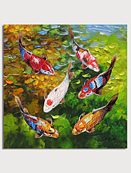 cheap -Oil Painting Hand Painted Square Landscape Animals Modern Stretched Canvas