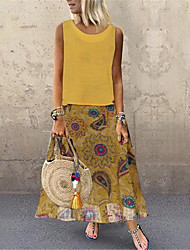 cheap -Women's Maxi Yellow Red Dress Boho Vintage A Line Geometric Print M L