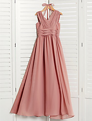 cheap -A-Line V Neck Maxi Chiffon Junior Bridesmaid Dress with Ruching / Pleats
