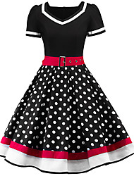 cheap -Women's Street chic Swing Dress - Polka Dot Print V Neck Black Red Navy Blue S M L XL