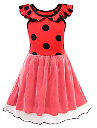 cheap -Kids Girls' Basic Cute Polka Dot Patchwork Mesh Short Sleeve Knee-length Dress Red