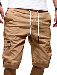 cheap -Men's Half Trousers With Multi-pockets Basic Chinos Shorts Pants Solid Colored Knee Length White Black Khaki Green Gray