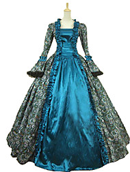 cheap -Princess Maria Antonietta Floral Style Rococo Victorian Renaissance Dress Party Costume Masquerade Women's Lace Lace Costume Peacock Blue Vintage Cosplay Christmas Halloween Party / Evening 3/4