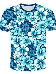 お買い得  -男性用 3D グラフィック プリント スリム Tシャツ 日常 ラウンドネック ブルー / 半袖