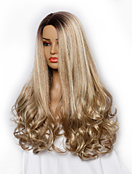cheap -Synthetic Wig Body Wave Kardashian Middle Part Wig Blonde Long Light golden Synthetic Hair 26 inch Women's Odor Free Fashionable Design Soft Blonde / Heat Resistant / Heat Resistant