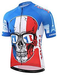 Недорогие -21Grams Черепа Муж. С короткими рукавами Велокофты - Красный + синий Велоспорт Джерси Верхняя часть Быстровысыхающий Впитывает пот и влагу Виды спорта Терилен Горные велосипеды Шоссейные велосипеды