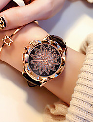 cheap -Women's Quartz Watches Flower Fashion Black White Brown PU Leather Chinese Quartz Black Red Blushing Pink New Design Large Dial 1 pc Analog