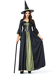 cheap -Witch Cosplay Costume Masquerade Adults' Women's Dresses Halloween Christmas Halloween Carnival Festival / Holiday Polyster Black Carnival Costumes Patchwork Holiday Halloween