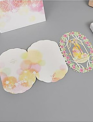 "cheap -Tri-Fold Wedding Invitations 10pcs - Invitation Cards Monogram Pure Paper 5""×7 ¼"" (12.7*18.4cm) Scattered Bead Floral Motif Style"