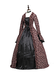 cheap -Princess Maria Antonietta Floral Style Rococo Victorian Renaissance Dress Party Costume Masquerade Women's Lace Costume Brown black Vintage Cosplay Christmas Halloween Party / Evening 3/4 Length