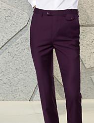 abordables -Homme Basique Costume / Chino Pantalon - Couleur Pleine Noir Vin Violet M L XL