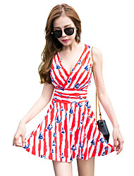 cheap -Women's Swim Dress Swimwear Breathable Quick Dry Sleeveless Swimming Surfing Water Sports Painting Floral / Botanical Autumn / Fall Spring Summer / Micro-elastic