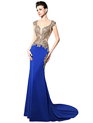 cheap -Mermaid / Trumpet Queen Anne Court Train Jersey Gold / Blue Engagement / Formal Evening Dress with Crystals / Beading / Appliques 2020