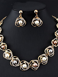 cheap -Women's Multicolor Bridal Jewelry Sets Link / Chain Floral Theme Fashion Cute Imitation Pearl Rhinestone Earrings Jewelry Rainbow For Wedding Party Engagement Gift 1 set