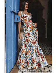 cheap -A-Line Spaghetti Strap Asymmetrical Cotton Floral / Elegant Prom / Holiday Dress 2020 with