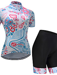 cheap -Men's Women's Short Sleeve Cycling Jersey with Shorts Sky Blue Floral Botanical Bike Clothing Suit Quick Dry Sports Floral Botanical Mountain Bike MTB Road Bike Cycling Clothing Apparel / Stretchy