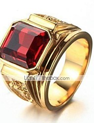 cheap -Men's Band Ring Onyx 1pc Black Red Copper Gold Plated Glass Square Stylish Vintage Daily Work Jewelry Vintage Style Precious Cool