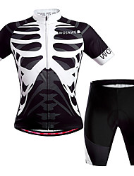 cheap -WOSAWE Men's Women's Short Sleeve Cycling Jersey with Shorts Black / White Skeleton Bike Clothing Suit Breathable Quick Dry Back Pocket Sweat-wicking Sports Polyester Skeleton Mountain Bike MTB Road