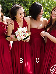 cheap -A-Line Strapless / One Shoulder Floor Length Chiffon Bridesmaid Dress with Ruching