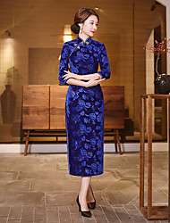 cheap -Adults Women's Chinese Style Chinese Style Cheongsam Qipao For Corporate Clothing Club Uniforms Cotton / Polyester Blend Long Length Cheongsam