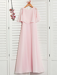 cheap -A-Line Jewel Neck Maxi Chiffon Junior Bridesmaid Dress with Ruffles
