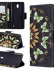 Недорогие -Кейс для Назначение Nokia Nokia 7.1 / Nokia 5 / Nokia 5.1 Кошелек / Бумажник для карт / Защита от удара Чехол Бабочка / Мультипликация Твердый Кожа PU